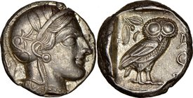 ATTICA. Athens. Ca. 440-404 BC. AR tetradrachm (24mm, 17.18 gm, 6h). NGC AU 4/5 - 5/5. Mid-mass coinage issue. Head of Athena right, wearing crested A...