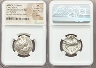 ATTICA. Athens. Ca. 440-404 BC. AR tetradrachm (24mm 17.16 gm, 2h). NGC XF 5/5 - 3/5, marks. Mid-mass coinage issue. Head of Athena right, wearing cre...
