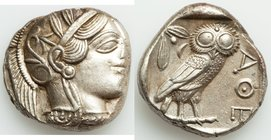 ATTICA. Athens. Ca. 440-404 BC. AR tetradrachm (25mm, 17.18 gm, 10h). AU. Mid-mass coinage issue. Head of Athena right, wearing crested Attic helmet o...