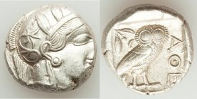 ATTICA. Athens. Ca. 440-404 BC. AR tetradrachm (23mm, 17.15 gm, 10h). About XF, graffito. Mid-mass coinage issue. Head of Athena right, wearing creste...