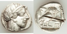 ATTICA. Athens. Ca. 440-404 BC. AR tetradrachm (25mm, 17.15 gm, 7h). XF, test cut. Mid-mass coinage issue. Head of Athena right, wearing crested Attic...