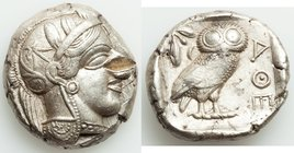 ATTICA. Athens. Ca. 440-404 BC. AR tetradrachm (25mm, 17.17 gm, 4h). XF, test cut. Mid-mass coinage issue. Head of Athena right, wearing crested Attic...