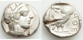 ATTICA. Athens. Ca. 440-404 BC. AR tetradrachm (24mm, 17.16 gm, 5h). VF, test cut. Mid-mass coinage issue. Head of Athena right, wearing crested Attic...