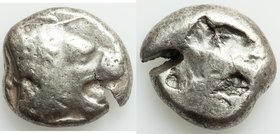 CARIA. Mylasa (?). Ca. 520-490 BC. AR stater (20mm, 10.58 gm). Fine, test cut. Uncertain mint. Forepart of lion right / Archaic incuse punch. SNG Kayh...