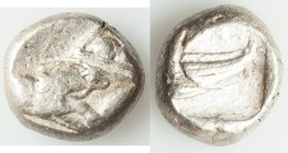 LYCIA. Phaselis. Ca. 530-500 BC. AR stater (18mm, 10.83 gm, 9h). About VF. Prow of galley left in the form of a forepart of a boar, three shields abov...