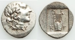 LYCIAN LEAGUE. Cragus. Ca. 1st century BC. AR hemidrachm (15mm, 1.86 gm, 12h). XF. Series 1. Laureate head of Apollo right; Λ-Y below / K-P, cithara (...