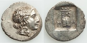 LYCIAN LEAGUE. Masikytes. Ca. 1st century BC. AR hemidrachm (16mm, 1.91 gm, 12h). AU. Series 1. Laureate head of Apollo right; Λ-Y below / M-A, cithar...