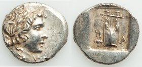 LYCIAN LEAGUE. Masikytes. Ca. 1st century BC. AR hemidrachm (15mm, 2.09 gm, 12h). AU. Series 1. Laureate head of Apollo right; Λ-Y below / M-A, cithar...