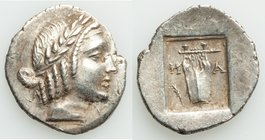 LYCIAN LEAGUE. Masikytes. Ca. 1st century BC. AR hemidrachm (17mm, 1.69 gm, 12h). Choice XF. Series 5. Laureate head of Apollo right; Λ-Y below / M-A,...
