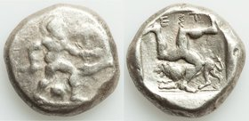 PAMPHYLIA. Aspendus. Ca. mid-5th Century BC. AR stater (20mm, 10.94 gm, 5h). Fine. Helmeted nude hoplite warrior advancing right, shield in left hand,...