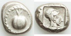 PAMPHYLIA. Side. Ca. 5th century BC. AR stater (21mm, 10.99 gm, 3h). Fine. Ca. 430-400 BC. Pomegranate, guilloche beaded border / Head of Athena right...