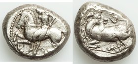 CILICIA. Celenderis. Ca. 425-400 BC. AR stater (20mm, 10.75 gm, 10h). Choice VF. Youthful nude male rider, reins in right hand, kentron in left, dismo...