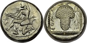 CILICIA. Soloi. Ca. 440-400 BC. AR stater (20mm, 10.34 gm, 2h). NGC Choice AU 4/5 - 4/5. Persic standard. Amazon, nude to waist, on one knee left, wea...