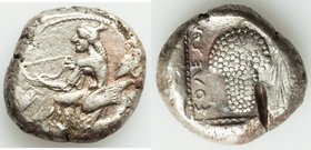 CILICIA. Soloi. Ca. 440-400 BC. AR stater (21mm, 10.68 gm, 1h). VF, test cut. Persic standard. Amazon, nude to waist, on one knee left, wearing pointe...