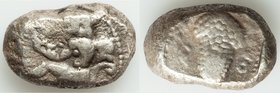 CILICIA. Soloi. Ca. 440-400 BC. AR stater (22mm, 10.80 gm, 6h). Fine. Persic standard. Amazon, nude to waist, on one knee left, wearing pointed cap, b...
