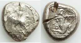CILICIA. Tarsus. Ca. late 5th century BC. AR stater (20mm, 10.79 gm, 6h). Fine, test cuts. Satrap on horseback riding left, reins in left hand / Arche...