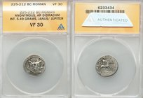 Anonymous. Ca. 225-214/2 BC. AR didrachm or quadrigatus (18mm, 5.49 gm, 12h). ANACS VF 30. Laureate head of youthful Janus / Jupiter in fast quadriga ...
