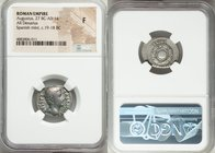 Augustus (27 BC-AD 14). AR denarius (20mm, 6h). NGC Fine. Spanish mint (Tarraco?), 19 BC. CAESAR-AVGVSTVS, bare head of Augustus right / OB CIVS-SERVA...