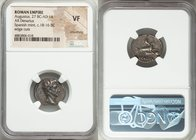 Augustus (27 BC-AD 14). AR denarius (19mm, 6h). NGC VF, smoothing, edge cuts. Spain (Colonia Patricia?), ca. 18-16 BC. Bare head of Augustus right wit...