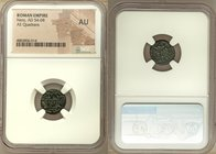 Nero (AD 54-68). AE quadrans (14mm, 6h). NGC AU. Rome. NERO CLAV-CAE AVG GE-R, owl standing facing with wings spread, on garlanded rectangular altar /...