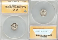 Galba (July AD 68-January AD 69). AR quinarius (14mm, 1.79 gm, 7h). ANACS VF 30. Uncertain mint in Gaul, November AD 68-15 January AD 69. SER•GALBA•IM...