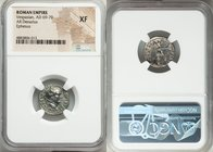 Vespasian (69-79 AD). AR denarius (17mm, 6h). NGC XF. Ephesus, AD 74. IMP CAESAR VESPAS AVG COS V TR P P P, laureate head of Vespasian right / PACI-AV...