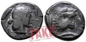 "Sicily. Fantasy issue of Syracuse and Leontini circa 500-450 BC. SOLD AS SEEN; MODERN REPLICA / NO RETURN !. Electrotype ""Didrachm"""