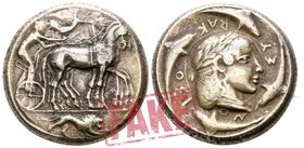 "Sicily. Syracuse. Hieron I 478-466 BC. SOLD AS SEEN; MODERN REPLICA / NO RETURN !. Electrotype ""Tetradrachm"". 'Demareteion' issue"