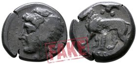 "Sicily. Uncertain Punic military mint circa 320-310 BC. SOLD AS SEEN; MODERN REPLICA / NO RETURN !. Electrotype ""Tetradrachm"" (?)"