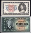Czechoslovakia Lot of 2 Banknotes 1945 With SPECIMEN