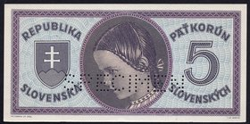 Slovakia 5 Korun 1945 (ND) SPECIMEN