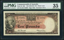 Australia Commonwealth Bank of Australia 10 Pounds ND (1954-59) Pick 32 R62 PMG Choice Very Fine 35.   HID09801242017