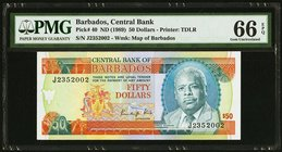 Barbados Central Bank 50 Dollars ND (1989) Pick 40 PMG Gem Uncirculated 66 EPQ.   HID09801242017