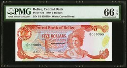 Belize Central Bank 5 Dollars 1.1.1989 Pick 47b PMG Gem Uncirculated 66 EPQ.   HID09801242017