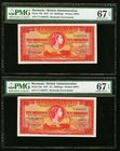 Bermuda Bermuda Government 10 Shillings 1.5.1957 Pick 19b Two Consecutive Examples PMG Superb Gem Unc 67 EPQ.   HID09801242017