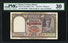 Burma Currency Board 10 Rupees ND (1947) Pick 32 Jhun5.15.1 PMG Very Fine 30.   HID09801242017