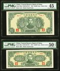 China Central Reserve Bank of China 10,000 Yuan 1944 Pick J38a; J39a S/M#C297-82; 83 Two Examples PMG Choice Extremely Fine 45; About Uncirculated 50 ...