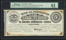 Colombia Banco de Cauca 5 Pesos 1882 Pick S142a PMG Uncirculated 61. Hand signed; discoloration.  HID09801242017