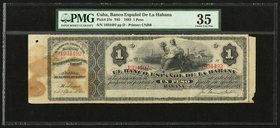 Cuba Banco Espanol de la Habana 1 Peso 1883 Pick 27e PMG Choice Very Fine 35. Note unaffected by issues in counterfoil; stains; paper pull.  HID098012...