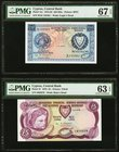 Cyprus Central Bank of Cyprus 250 Mils; 5 Pounds 1.8.1976; 1.6.1979 Pick 41c; 47 Two Examples PMG Superb Gem Unc 67 EPQ; Choice Uncirculated 63 EPQ.  ...
