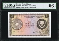 Cyprus Central Bank of Cyprus 1 Pound 1.7.1975 Pick 43b PMG Gem Uncirculated 66 EPQ.   HID09801242017