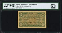 Egypt Egyptian Government 5 Piastres 1940 Pick 163 PMG Uncirculated 62. Toned.  HID09801242017