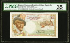 French Equatorial Africa Caisse Centrale de la France d'Outre-Mer 50 Francs ND (1947) Pick 23 PMG Choice Very Fine 35.   HID09801242017