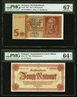 Germany Reichsbanknote; Sudetenland & Lower Silesia 5; 20 Reichsmark 1942; 1945 Pick 186a; 187 Two Examples PMG Superb Gem Unc 67 EPQ; Choice Uncircul...