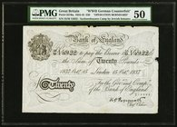 "Great Britain Bank of England 20 pounds 15.10.1937 Pick 337Ba ""Operation Bernhard"" PMG About Uncirculated 50. Paper maker's notch; minor edge damage; ..."