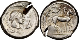 SICILY. Syracuse. Deinomenid Tyranny. Ca. 485-466 BC. AR tetradrachm (24mm, 17.34 gm, 3h). NGC Choice VF 5/5 - 2/5, test cut. Struck under Hieron I (4...