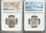 MACEDONIAN KINGDOM. Alexander III the Great (336-323 BC). AR tetradrachm (27mm, 16.79 gm, 12h). NGC Choice AU 5/5 - 3/5. Posthumous issue of Ake or Ty...