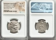 MACEDONIAN KINGDOM. Alexander III the Great (336-323 BC). AR tetradrachm (25mm, 16.88 gm, 12h). NGC Choice AU 5/5 - 3/5. Posthumous issue of Ake or Ty...
