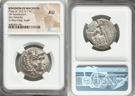 MACEDONIAN KINGDOM. Philip III Arrhidaeus (323-317 BC). AR tetradrachm (28mm, 5h). NGC AU. Sidon, dated Regnal Year 13 of Abdalonymos (321/20 BC). Hea...