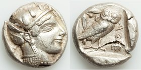 ATTICA. Athens. Ca. 465-455 BC. AR tetradrachm (24mm, 17.18 gm, 9h). XF, test cut. Head of Athena right, wearing crested Attic helmet ornamented with ...